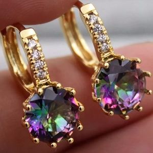 Jewelry - 18K Gold Rainbow Mystic Topaz Lever back Earrings